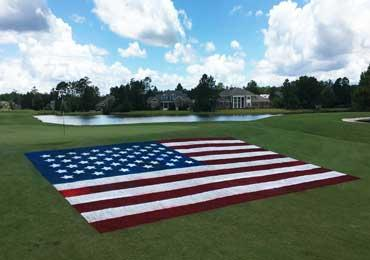 Us Flag Stars And Stripe Stencil To Paint Flags On Natural Turf Grass