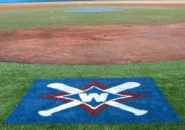 football field midfield logo stencil and custom athletic field