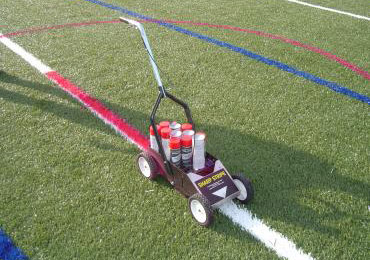 temporary removable aerosol chalk synthetic field turf lines logos