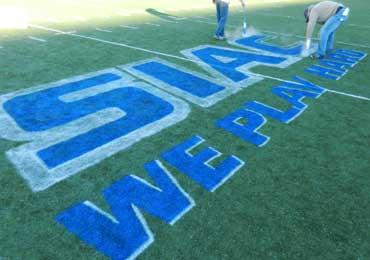 temporary removable aerosol chalk synthetic field turf