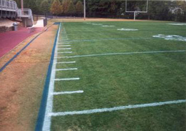 green grass football field background green turf dye paint football field grass painting spray paint turf dye turns brown dormant lawn green